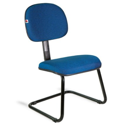 Cadeira Secretária Pé Contínuo Tecido Azul Com Preto