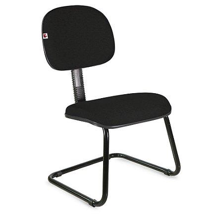 Cadeira Secretária Pé Contínuo Tecido Preto