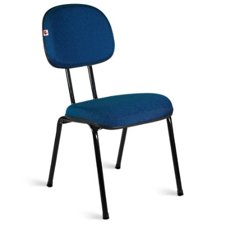 Cadeira Secretária Pé Palito Tecido Azul Com Preto
