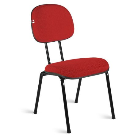 Cadeira Secretária Pé Palito Tecido Vermelho