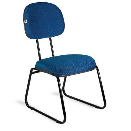 Cadeira Secretária Pé Sky Tecido Azul Com Preto