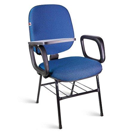 Cadeira Universitária Diretor Tecido Azul Com Preto