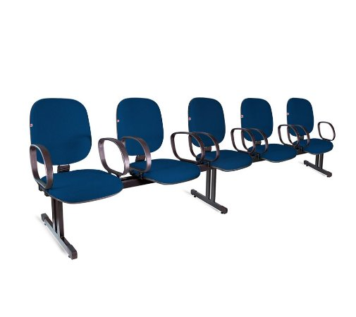 Longarina Diretor 5 Lugares Braços Tecido Azul Com Preto