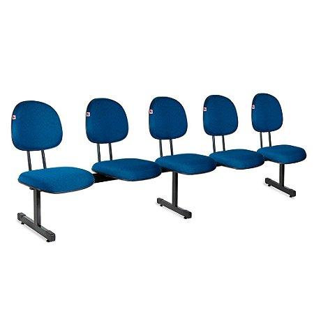 Longarina Executiva 5 Lugares Tecido Azul Com Preto