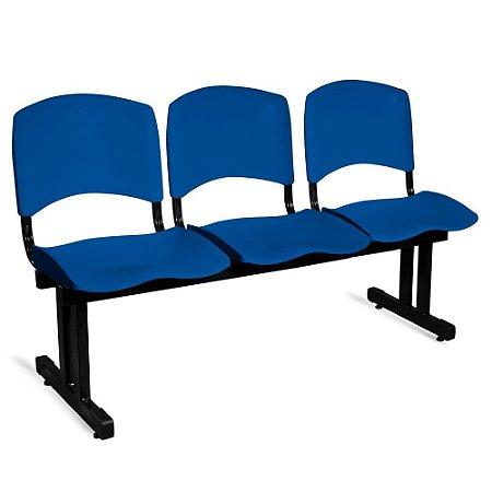 Longarina Plástica 3 Lugares A/E Azul Lara