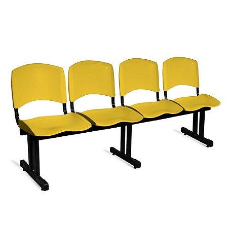 Longarina Plástica 4 Lugares A/E Amarelo Lara