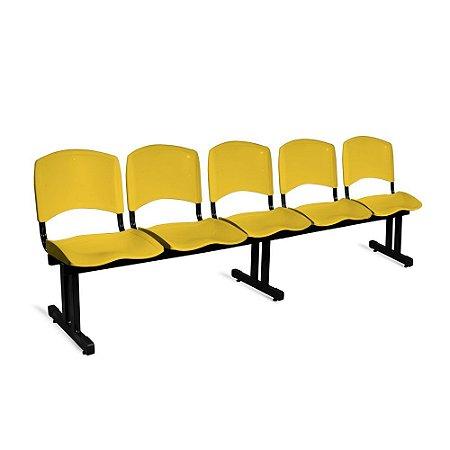 Longarina Plástica 5 Lugares A/E Amarelo Lara