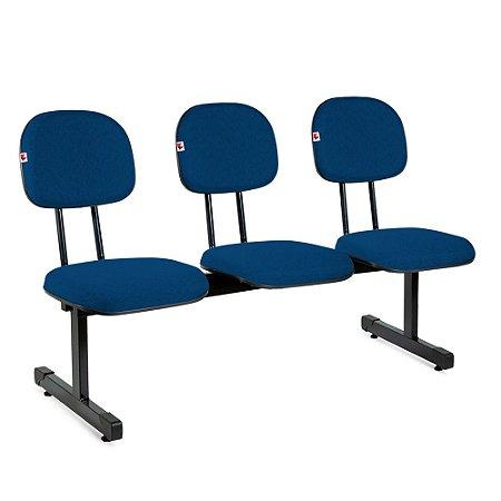Longarina Secretária 3 Lugares Tecido Azul Com Preto
