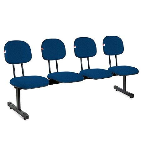 Longarina Secretária 4 Lugares Tecido Azul Com Preto