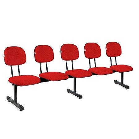 Longarina Secretária 5 Lugares Tecido Vermelho