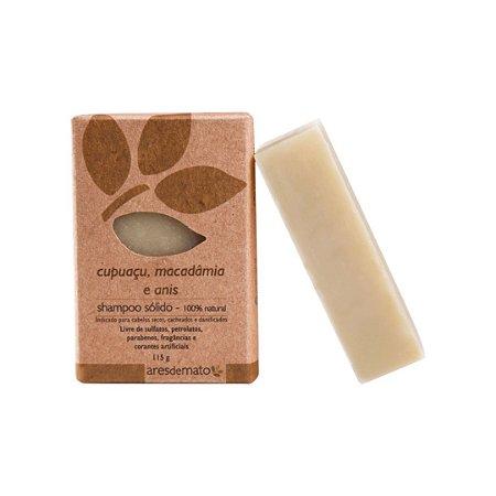 Shampoo Sólido Cupuaçu, Macadâmia e Anis - Cabelos Secos, Cacheados e Danificados - Ares de Mato - 115g