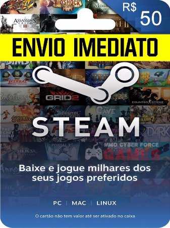 Steam Cartão Pré-pago R$ 50 Reais De Crédito - Gift Card !!