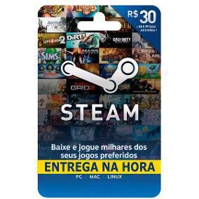 Steam Cartão Pré-pago R$ 30 Reais De Crédito - Gift Card !!