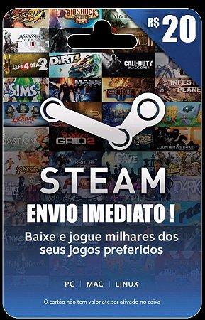 Steam Cartão Pré-pago R$ 20 Reais De Crédito - Gift Card !!