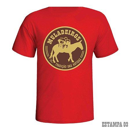 Camiseta Muladeiros vermelha c/ estampa