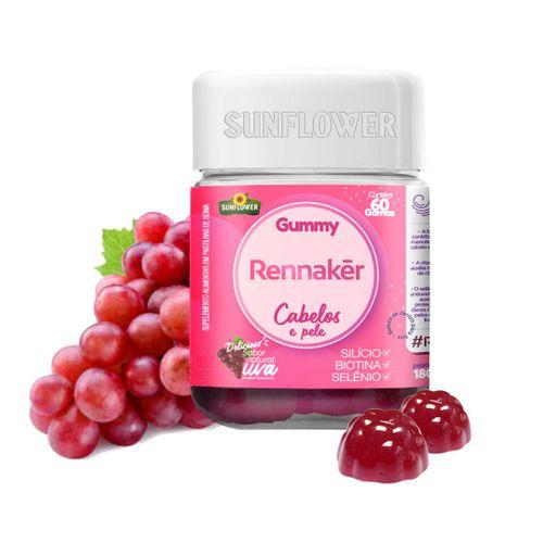 Gummy Hair Rennaker 60 Gomas - Máxima Concentração de Biotina, Vitamina Para Cabelos e Unhas