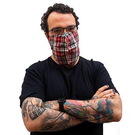 Máscara Para Barbudos De Tecido Reutilizável Xadrez