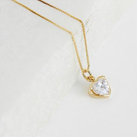 Colar Solitário Coração Luz Banho Ouro
