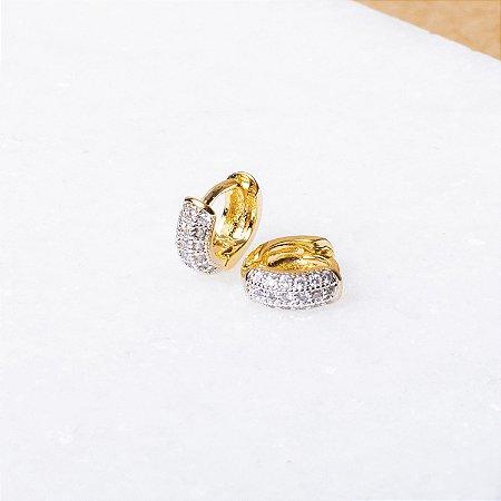 Argola Boleada Cravejada 6mm Banho Ouro