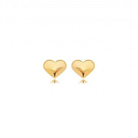 Brinco Coração Liso Banho Ouro