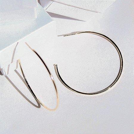 Argola Fio Slim 50mm Banho Ouro