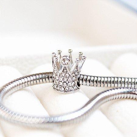 Berloque Coroa Zircônia Aço
