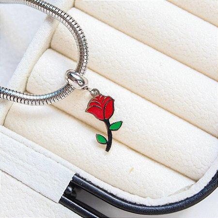 Berloque Flor Vermelha Aço