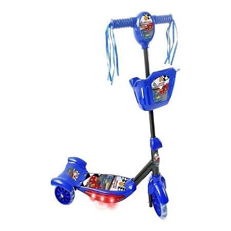 Patinete Infantil 3 Rodas Musical Com Luzes Cesta Azul