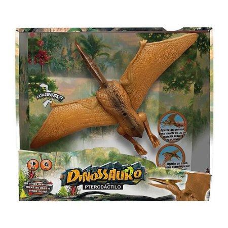 Boneco Dinossauro Pterodactilo Com Som E Luz - Dm Toys 5932