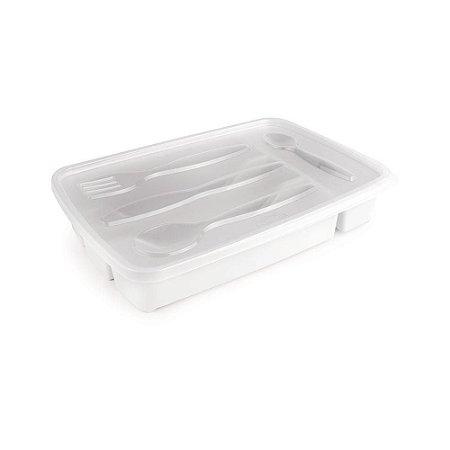 Porta Talheres de Plastico com Tampa 5 Divisorias-Branco