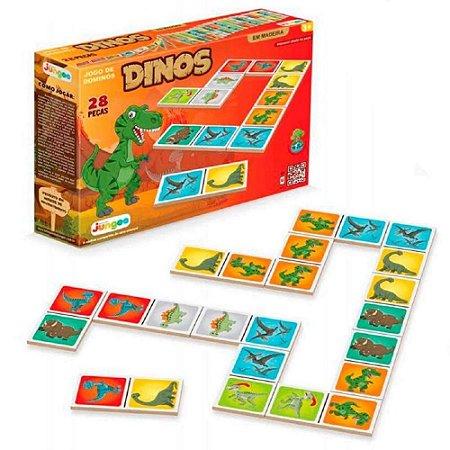 Jogo Domino Dinos 28 pecas de Madeira Brinquedo Junges