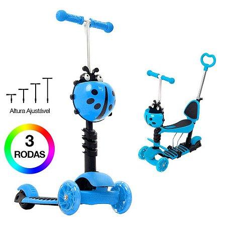 Patinete Scooter Joaninha Azul 2 em 1 para Meninos dm Toys