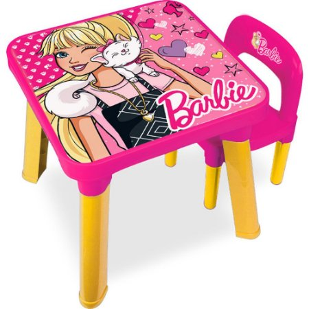 Mesinha com Cadeira Infantil Rosa Fabulosa Barbie Fun BB6000