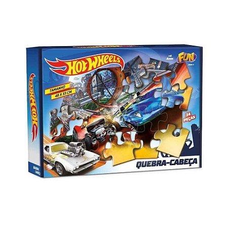 Brinquedo Quebra Cabeca Da Hot Wheels Fun 86890 24 Pecas