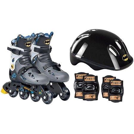 Patins Roller Batman Com Kit de Acessorios - Ajustavel 33 a 36 - 84179