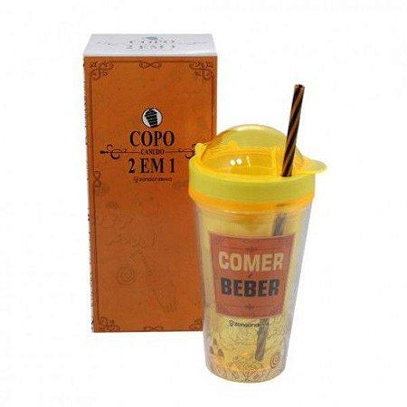 COPO CANUDO 2 EM 1 COMER E BEBER 450ML