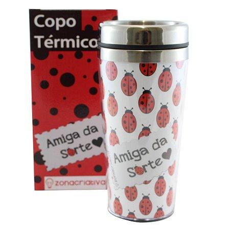 COPO TÉRMICO COM TAMPA AMIGA DA SORTE 450ML