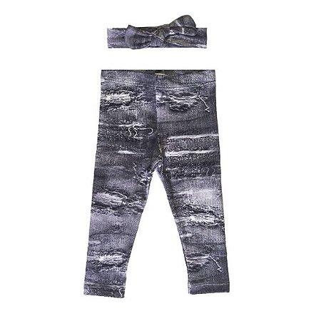 Legging e Faixinha Letiti Amy Jeans Black