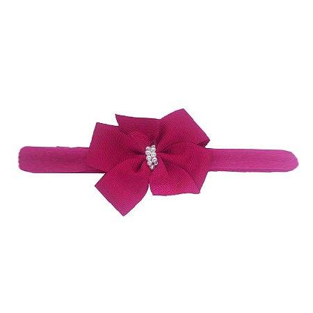 Faixa Laço Letiti Pink com Pérolas M