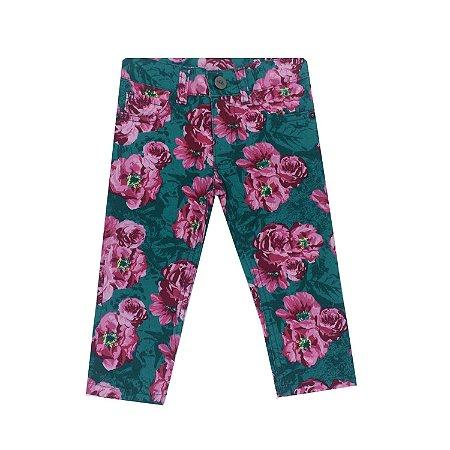 Calça Jeans Verde Floral