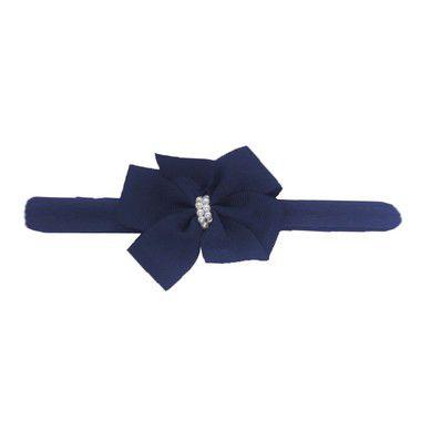 Faixa Laço Letiti Azul Marinho com Pérolas M