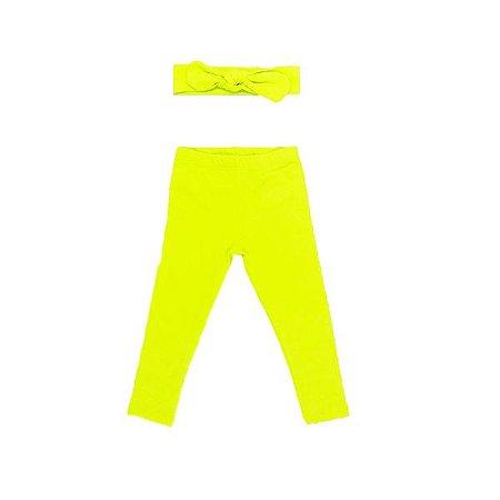 Legging + Faixinha Amarelo Neon