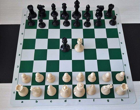 "Jogo de Xadrez  Stauton  Rei 4"" 1/8 - Peso Quádruplo Com Tabuleiro de Silicone"