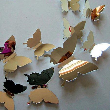 Adesivo de parede borboleta 3D Espelho Decoração 12pcs