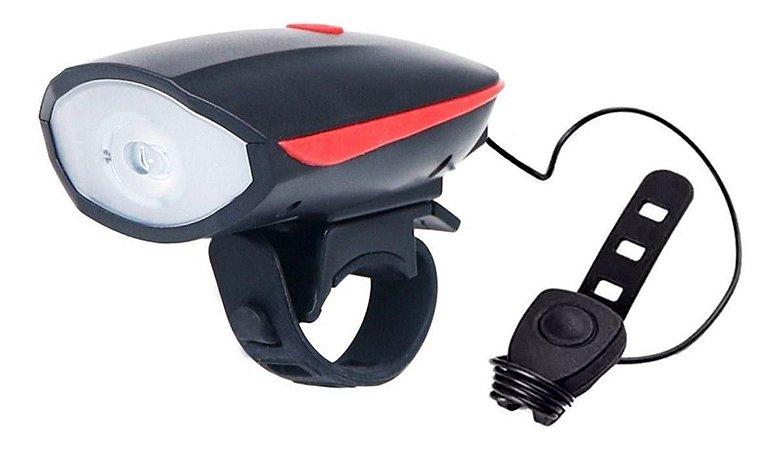 Farol Lanterna Led De Bike Recarregável Usb Com Buzina 140db Ip65