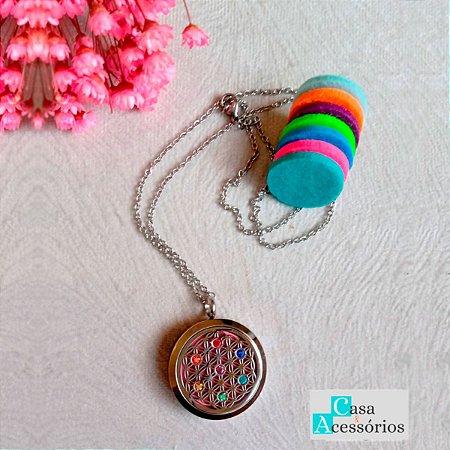 Colar Difusor Mandala Flor da Vida Pontos de Chakras