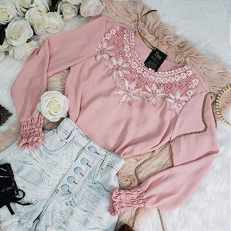 Camisa Manga Longa Crepe Bordada Rosa