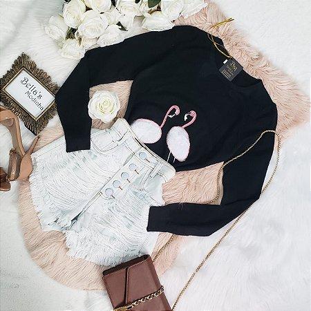 Blusa Tricozinho Flamingo Preta
