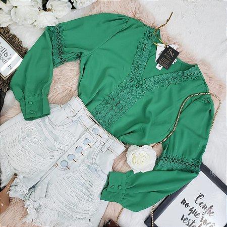 Camisa Manga Longa Com Guipir Verde Bandeira