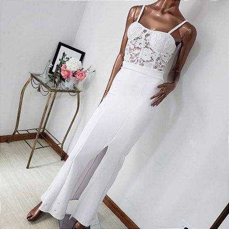 Vestido Branco Crepe e Renda